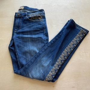 Driftwood Audrey Blue Aztec Embroidered Jeans 27